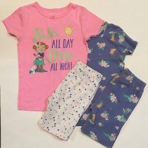 2 Sets of Carter's Shorts Pajamas Girls Size 6